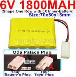 6V 1800MAH Ni-MH Battery-With Oda Palace Plug(Round hole-Black Wire)-(Shape-One Row With 5 Inner-Battery)-Size-70x50x15mm