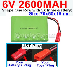 6V 2600MAH Ni-MH Battery-With JST Plug-(Shape-One Row with 5X Inner-Battery)-Size-70x50x15mm