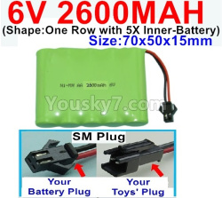 6V 2600MAH Ni-MH Battery-With SM Plug-(Shape-One Row with 5X Inner-Battery)-Size-70x50x15mm