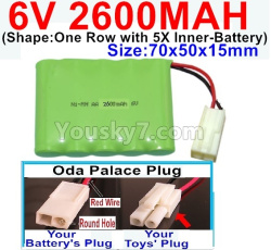 6V 2600MAH Ni-MH Battery-With Oda Palace Plug(Round hole-Red Wire)-(Shape-One Row with 5X Inner-Battery)-Size-70x50x15mm