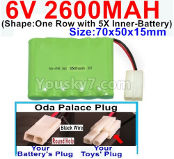 6V 2600MAH Ni-MH Battery-With Oda Palace Plug(Round hole-Black Wire)-(Shape-One Row with 5X Inner-Battery)-Size-70x50x15mm