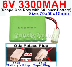 6V 3300MAH Ni-MH Battery-With Oda Palace Plug(Round hole-Red Wire)-(Shape-One Row with 5X Inner-Battery)-Size-70x50x15mm