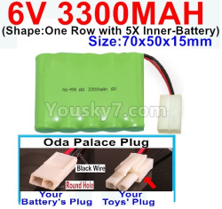 6V 3300MAH Ni-MH Battery-With Oda Palace Plug(Round hole-Black Wire)-(Shape-One Row with 5X Inner-Battery)-Size-70x50x15mm