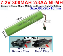 7.2V 300MAH 2/3AA Ni-MH Battery-With SM Plug-(Shape-U-Shape,Upper,Middle,lower Each 2x battery)-Size-86X20mmx10mm