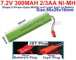 7.2V 300MAH 2/3AA Ni-MH Battery-With JST Plug-(Shape-U-Shape,Upper,Middle,lower Each 2x battery)-Size-86X20mmx10mm