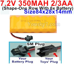 7.2V 350MAH 2/3AA NI-CD Battery-with SM Plug-(Shape-One Row With 6x Battery)-Size-84x28x14mm