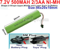 7.2V 500MAH 2/3AA Ni-MH Battery-With SM Plug-(Shape-U-Shape,Upper,Middle,lower Each 2x battery)-Size-86X20mmx10mm