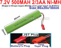 7.2V 500MAH 2/3AA Ni-MH Battery-With JST Plug-(Shape-U-Shape,Upper,Middle,lower Each 2x battery)-Size-86X20mmx10mm