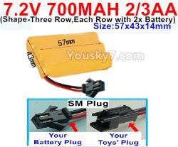 7.2V 700MAH 2/3AA Ni-CD Battery-With SM Plug(Shape-Three Row,Each Row with 2x Battery)-Size-57x43x14mm