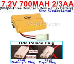 7.2V 700MAH 2/3AA Ni-CD Battery-With Oda Palace Plug(Round hole-Red Wire)-(Shape-Three Row,Each Row with 2x Battery)-Size-57x43x14mm