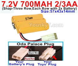 7.2V 700MAH 2/3AA Ni-CD Battery-With Oda Palace Plug(Round hole-Black Wire)-(Shape-Three Row,Each Row with 2x Battery)-Size-57x43x14mm