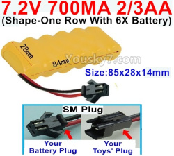 7.2V 700MAH 2/3AA Ni-CD Battery-With SM Plug(Shape-One Row with 6x Battery)-Size-84x28x14mm