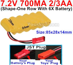 7.2V 700MAH 2/3AA Ni-CD Battery-With JST Plug(Shape-One Row with 6x Battery)-Size-84x28x14mm