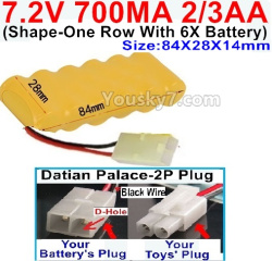 7.2V 700MAH 2/3AA Ni-CD Battery-With Datian Palace-2P Plug(The D-Shape hole is Black wire)-(Shape-One Row with 6x Battery)-Size-84x28x14mm
