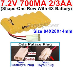 7.2V 700MAH 2/3AA Ni-CD Battery-With Oda Palace Plug(Round hole-Red Wire)-(Shape-One Row with 6x Battery)-Size-84x28x14mm