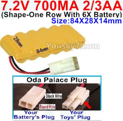 7.2V 700MAH 2/3AA Ni-CD Battery-WithOda Palace Plug(Round hole-Black Wire)-(Shape-One Row with 6x Battery)-Size-84x28x14mm