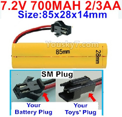 7.2V 700MAH 2/3AA Ni-CD Battery-With SM Plug-Size-85x28x14mm