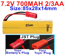 7.2V 700MAH 2/3AA Ni-CD Battery-With JST Plug-Size-85x28x14mm