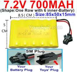 7.2V 700MAH NI-CD Battery AA-With SM Plug-(Shape-One Row with 6 inner-Battery)-Size-85x50x15mm