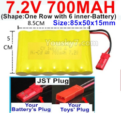 7.2V 700MAH NI-CD Battery AA-With JST Plug(Shape-One Row with 6 inner-Battery)-Size-85x50x15mm