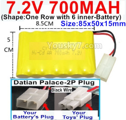 7.2V 700MAH NI-CD Battery AA-With Datian Palace-2P Plug(The D-Shape hole is Black wire)-(Shape-One Row with 6 inner-Battery)-Size-85x50x15mm