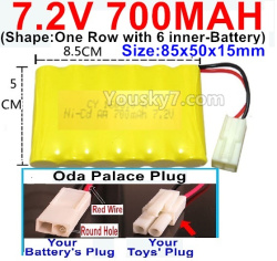 7.2V 700MAH NI-CD Battery AA-With Oda Palace Plug(Round hole-Red Wire)-(Shape-One Row with 6 inner-Battery)-Size-85x50x15mm