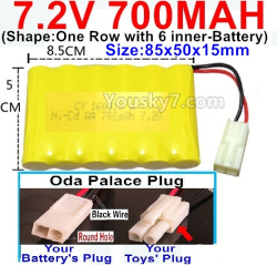 7.2V 700MAH NI-CD Battery AA-With Oda Palace Plug(Round hole-Black Wire)-(Shape-One Row with 6 inner-Battery)-Size-85x50x15mm