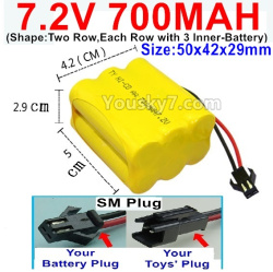 7.2V 700MAH NI-CD Battery AA-With SM Plug-(Shape-Two Row,Each Row with 3x Inner-Battery)-Size-50x42x29mm