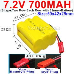 7.2V 700MAH NI-CD Battery AA-With JST Plug-(Shape-Two Row,Each Row with 3x Inner-Battery)-Size-50x42x29mm