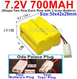 7.2V 700MAH NI-CD Battery AA-With Oda Palace Plug(Round hole-Red Wire)-(Shape-Two Row,Each Row with 3x Inner-Battery)-Size-50x42x29mm