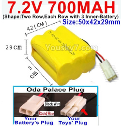 7.2V 700MAH NI-CD Battery AA-With Oda Palace Plug(Round hole-Black Wire)-(Shape-Two Row,Each Row with 3x Inner-Battery)-Size-50x42x29mm