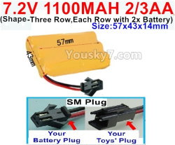 7.2V 1100MAH 2/3AA Ni-CD Battery-With SM Plug-(Shape-Three Row,Each Row with 2x Battery)-Size-57x43x14mm