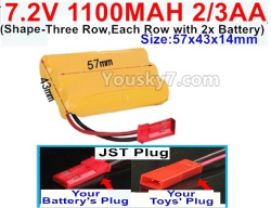 7.2V 1100MAH 2/3AA Ni-CD Battery-With JST Plug(Shape-Three Row,Each Row with 2x Battery)-Size-57x43x14mm