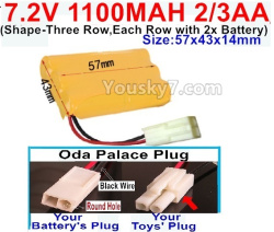 7.2V 1100MAH 2/3AA Ni-CD Battery-With Oda Palace Plug(Round hole-Black Wire)-(Shape-Three Row,Each Row with 2x Battery)-Size-57x43x14mm