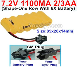 7.2V 1100MAH 2/3AA Ni-CD Battery-With SM Plug-(Shape-One Row with 6x Battery)-Size-84x28x14mm