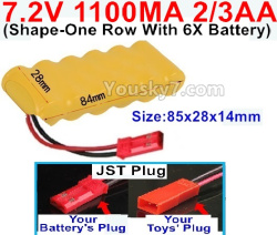 7.2V 1100MAH 2/3AA Ni-CD Battery-With JST Plug(Shape-One Row with 6x Battery)-Size-84x28x14mm