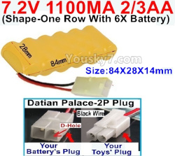 7.2V 1100MAH 2/3AA Ni-CD Battery-With Datian Palace-2P Plug(The D-Shape hole is Black wire)-(Shape-One Row with 6x Battery)-Size-84x28x14mm