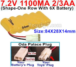 7.2V 1100MAH 2/3AA Ni-CD Battery-With Oda Palace Plug(Round hole-Red Wire)-(Shape-One Row with 6x Battery)-Size-84x28x14mm
