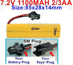 7.2V 1100MAH 2/3AA Ni-CD Battery-With SM Plug-Size-85x28x14mm