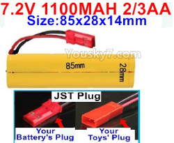 7.2V 1100MAH 2/3AA Ni-CD Battery-With JST Plug-Size-85x28x14mm