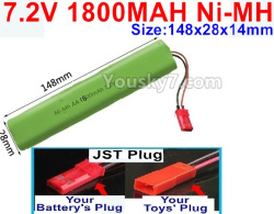 7.2V 1800MAH Ni-MH Battery AA-With JST Plug-Size-148X28mmx14mm