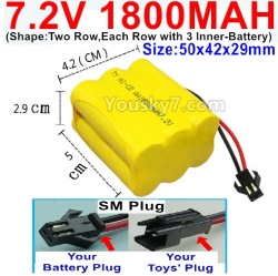 7.2V 1800MAH NI-CD Battery AA-With SM Plug-(Shape-Two Row,Each Row with 3x Inner-Battery)-Size-50x42x29mm
