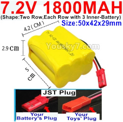 7.2V 1800MAH NI-CD Battery AA-With JST Plug-(Shape-Two Row,Each Row with 3x Inner-Battery)-Size-50x42x29mm