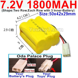 7.2V 1800MAH NI-CD Battery AA-With Oda Palace Plug(Round hole-Red Wire)-(Shape-Two Row,Each Row with 3x Inner-Battery)-Size-50x42x29mm