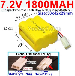 7.2V 1800MAH NI-CD Battery AA-With Oda Palace Plug(Round hole-Black Wire)-(Shape-Two Row,Each Row with 3x Inner-Battery)-Size-50x42x29mm
