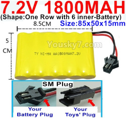 7.2V 1800MAH NI-MH Battery AA-With SM Plug-(Shape-One Row with 6 inner-Battery)-Size-85x50x15mm