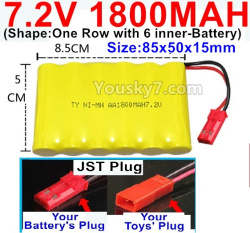 7.2V 1800MAH NI-MH Battery AA-With JST Plug(Shape-One Row with 6 inner-Battery)-Size-85x50x15mm