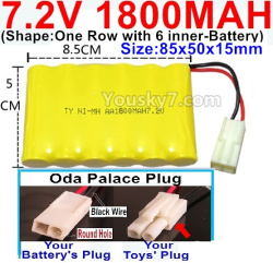 7.2V 1800MAH NI-MH Battery AA-With Oda Palace Plug(Round hole-Black Wire)-(Shape-One Row with 6 inner-Battery)-Size-85x50x15mm