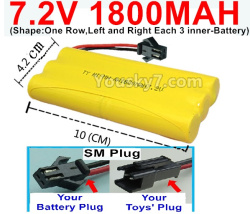 7.2V 1800MAH NI-MH Battery AA-With SM Plug-(Shape-One Row,Left and Right Each 3 inner-Battery)