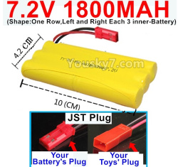 7.2V 1800MAH NI-MH Battery AA-With JST Plug-(Shape-One Row,Left and Right Each 3 inner-Battery)